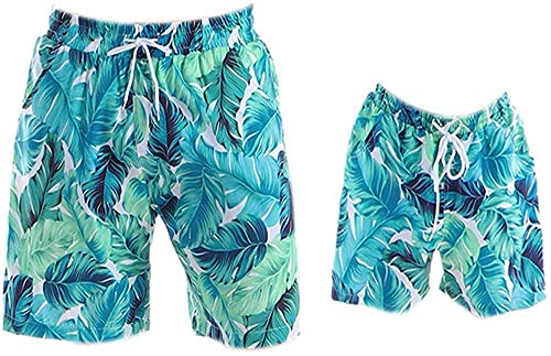 Family Matching Swimsuit Father and Son Floral Print Beachwear Swimwear Sets Daddy and Me Swimming Pants(Blue,Daddy/L)