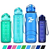 Sports Water Bottle Kids with Times to Drink Leakproof 1.2L / 1L / 700ml / 500ml 1Litre Plastic Drink Bottles BPA Free Motivational Adults, Gym, School, Running, Travel, Girls, Boys Filter Reusable