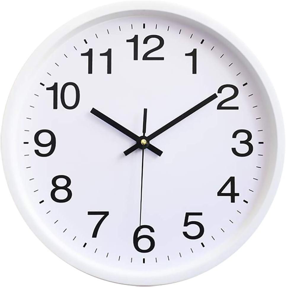 TOPPTIK Reloj de pared moderno de 12 pulgadas, silencioso, sin garrapatas, funciona con pilas, redondo, fácil de leer, para sala de estar, cocina, oficina, escuela, decoración del aula (blanco)