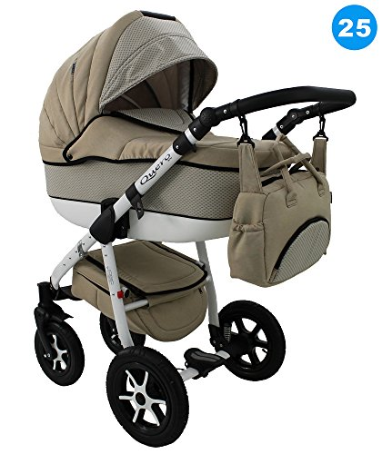 Kombi Kinderwagen Travel System QUERO BABYSPORTIVE 3in1 Buggy Sportwagen + Babyschale Carlo 0-10kg (25. beige - punktiert)