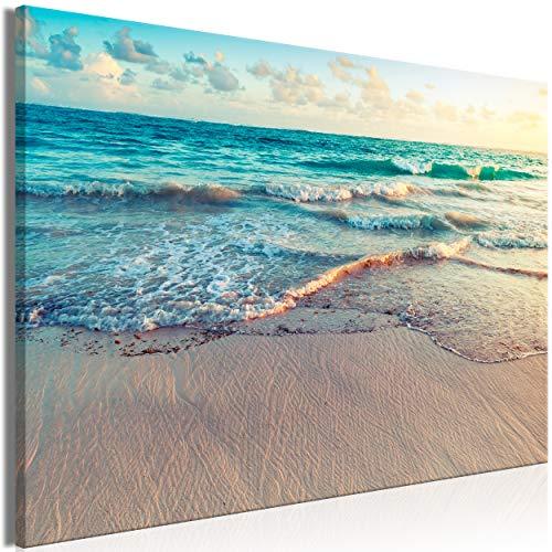decomonkey | Mega XXXL Bilder Meer Strand | Wandbild Leinwand 160x80 cm Selbstmontage DIY Einteiliger XXL Kunstdruck zum aufhängen | Landschaft Natur Sonnenuntergang Sand