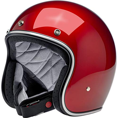 Casco Jet Aperto Biltwell Bonanza Rosso Metallic Candy Red Approvato DOT Helmet Biker Look Stile Universale x Genere Custom Vintage retrò Anni 70 off-Road Street Taglia M