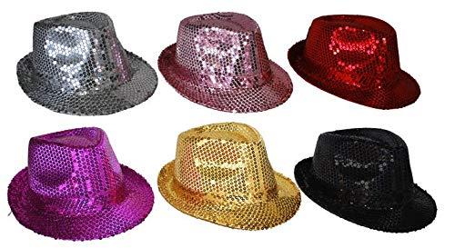 Paillettes chapeau homme femme argent rose pourpre noir or rouge