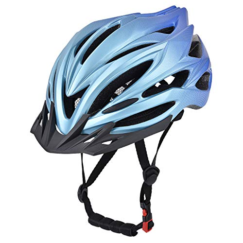 YieJoya Adult Bike Helmet,Road/Mountain Bicycle Cycling Helmet for Men and Women with Removable Visor,Adjustable Dail, Flow Vents and Detachable Liner-Blue …