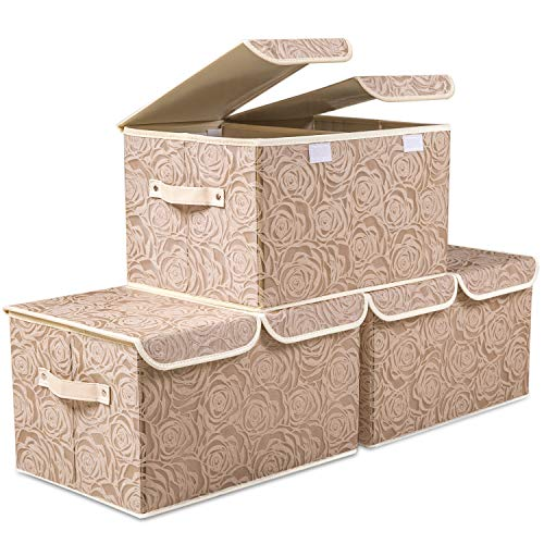 Prandom Contenedores de almacenamiento apilables grandes con tapas, caja de almacenamiento decorativa de tela, cubos organizadores,...
