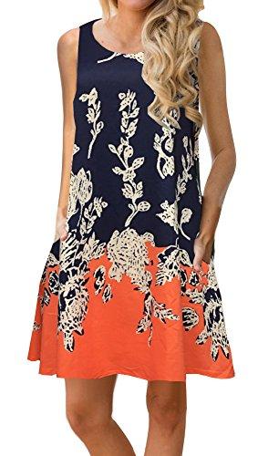 ETCYY Women¡¯s Summer Casual Sleeveless Floral Printed Swing Dress Sundress with Pockets Orange