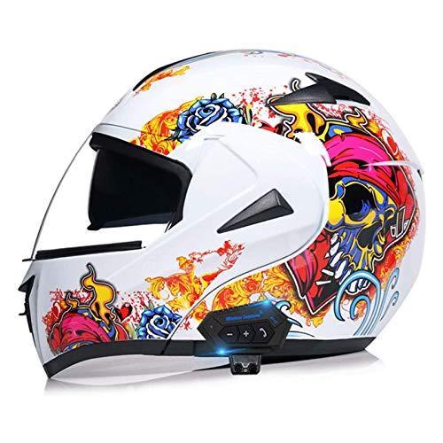 Casco de motocicleta todoterreno de carreras Casco de motocicleta Bluetooth modular con visera solar dual Certificación ECE Casco integral con altavoz integrado,10,XL