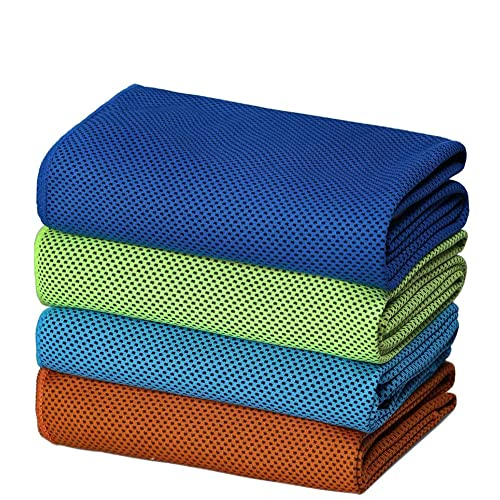SIMSIMY Cooling Towel 4 Pack Fast Drying, Ultra Lightweight Compact Ice Towel for Men Women Kids, Super Absorbent Microfiber Towels for Sports, Gym, Workout, Fitness, Running, Travel, Camping