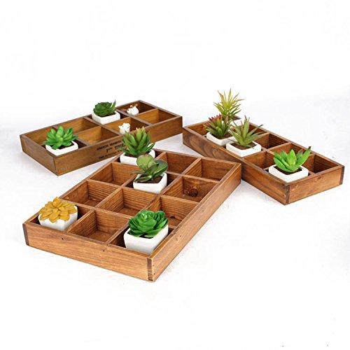 Vintage en Bois Fleur Plante Succulente pot rectangle creux Boîte de stockage plateau