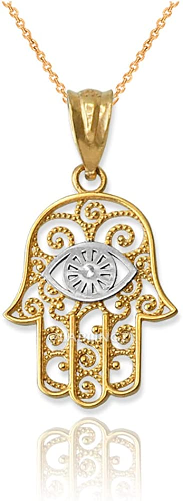LA BLINGZ 10K Two-Tone Yellow Gold Hamsa Necklace Charm Safety and trust Evil High quality Eye
