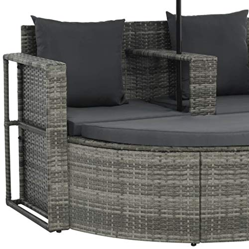 vidaXL Gartenlounge mit Sonnenschirm Poly Rattan Lounge Garnitur Gartenmöbel - 3