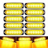 10PCS Solid Amber Lights, 12V/24V Surface Mount Grille for Vehicle Trucks SUV Off-road