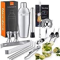 newdora shaker cocktail set 15 pack professionale opuscolo di ricette completo, acciaio inossidabile di alta qualità aperitivo accessori per mojito martini gin bevanda regalo donna uomo, bar party