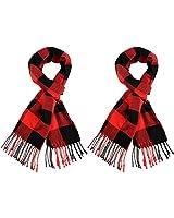 2 Pieces Warm Plaid Blanket Scarf Winter Long Tassel Shawl Scarf for Women (Color Set 2)