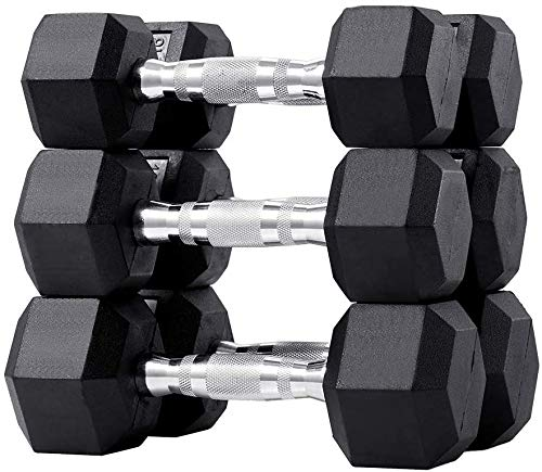 papababe 60LB Dumbbell Set Rubber Encased Hex Dumbbell Free Weights Dumbbells Set Home Weight Set (A Pair of 5 10 15 LB Dumbbell)