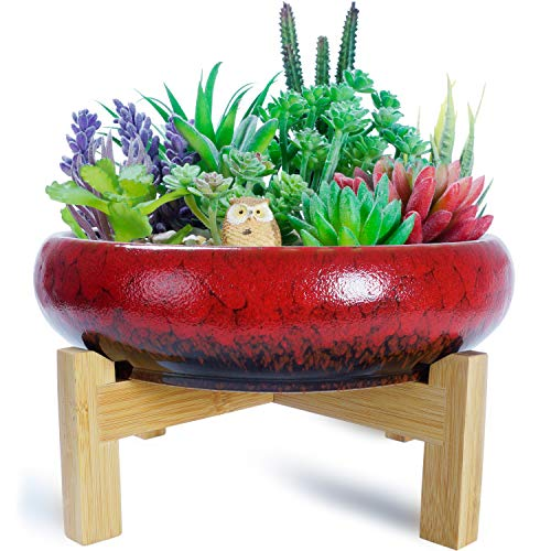 ARTKETTY Vintage Round Succulent Planter Pot with Stand, 10 Inch Large Ceramic Glazed Bonsai Pot with Mess Drainage Screen, Decorative Garden Cactus Flower Plant Container Bowl for Desk or Windowsill