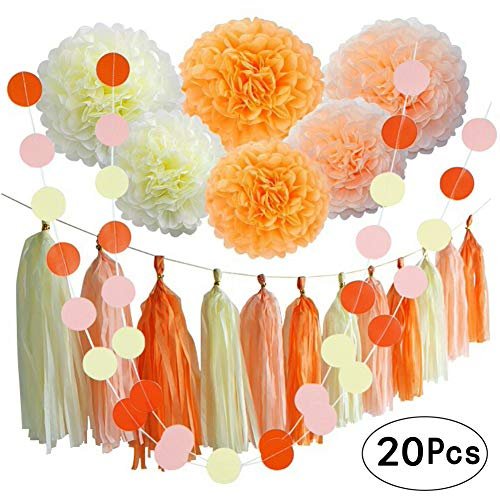 Orange Fall Party Hanging Decorations Thanksgiving Party Ceiling Hangings Wedding Decorations Tissue Paper Pom-Poms Tassel Garlands Baby Shower Birthday Party Decorations