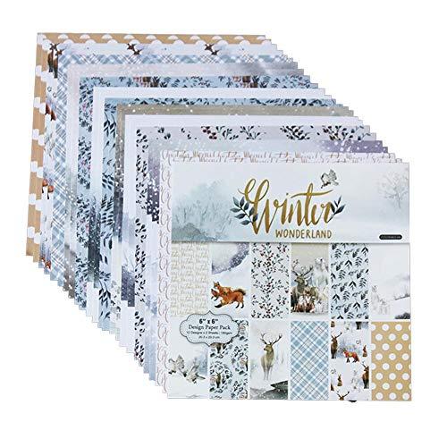 arthomer Papel Estampado patrón 24 Hojas de Paper Pack Scrapbooking Estampado Flores Románticas Vintage para DIY Paper Decorativa Manualidades 15x15cm