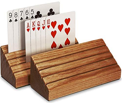 SKAVIJ Wooden Handmade Rack Playing Card Holder Decorative Card Organizer Tray (Pack of 2, 6-Inch)