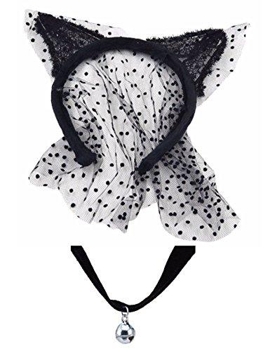 Zwarte sluier kattenoren + fluwelen bel halsband halsketting kostuumfeest De set
