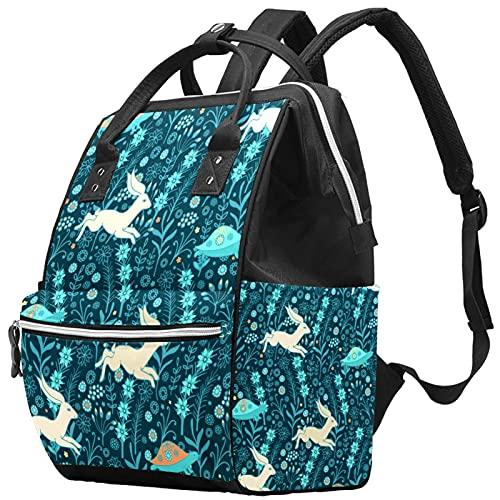 Yuelai Borsa per pannolini Zaino per laptop Zaino da viaggio da viaggio per donna, motivo floreale tartarughe in esecuzione