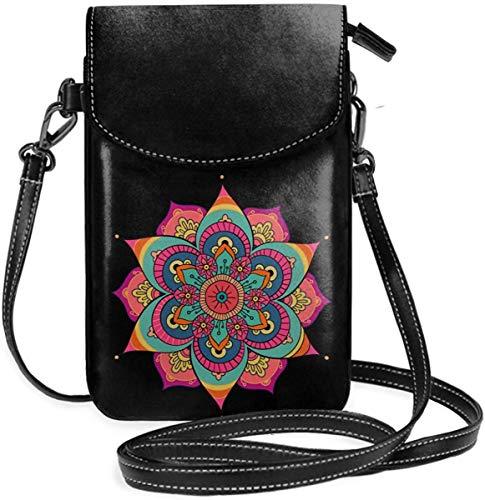 Kleine Handytasche für Frauen Leder Mandala Clip Art Insides Kartenfächer Umhängetaschen Brieftasche Umhängetasche