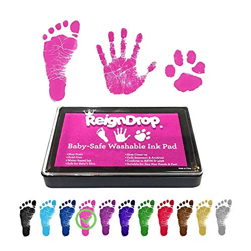 ReignDrop Ink Pad For Baby Footprint, Handprint, Create Impressive Keepsake Stamp, Non-Toxic and Acid-Free Ink, Easy To Wipe and Wash Off Skin, Smudge Proof, Long Lasting Keepsakes (Pink)