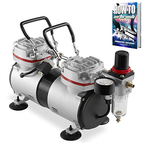 PointZero 1/3 HP Double Piston Airbrush Compressor with Regulator, Gauge and Water Trap - Quiet Professional Air Pump
