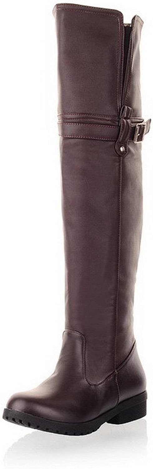 WeenFashion Women's PU Short Plush Lining Low Heels Solid Knee-High Boots with Metal Buckles