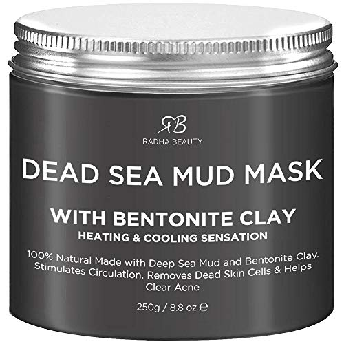 Radha Beauty Dead Sea Mud Mask with Bentonite Clay for Face & Body 8.8 oz - 100% Natural Formula to...