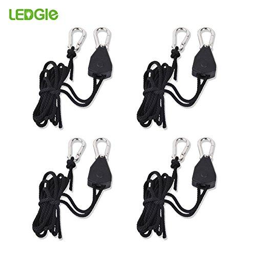 LEDGLE Easy Rolls Ratchet Hanger,1/8 Zoll Duty Heavy Rope Hanger Seilratsche,Seil Ratsche mit Haken für Pflanzenlampe Einstellbare Lastkapazität, 4 Stück