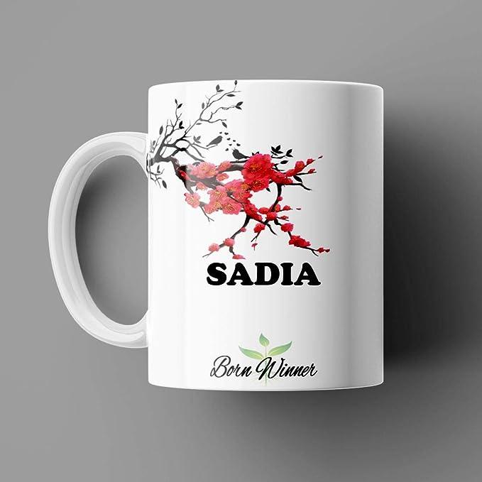 Name Printed Sadia Name Mug for Coffee White Ceramic Mug (350)ml