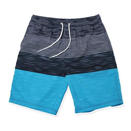 GWELL Bañador para hombre, diseño de rayas, secado rápido, para playa azul XXXL
