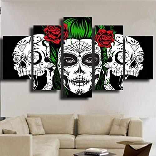 GBxebenYN02 Living room sofa study room art deco canvas 5 panels Red rose clown skull Decorative canvas 5 panel sofa background decoration 200x100cm