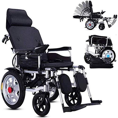 Sterk en moedig Zware elektrische rolstoel met een hoofdsteun, opvouwbaar, lichtgewicht draagbare elektrische rolstoel met de veiligheidsgordel, een elektrische of handmatige bediening en een verstelb
