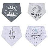 Bebé baberos 4Pcs pañuelo Impreso Absorbent Algodón para Unisexo Bebé un tamaño Triángulo Bufanda