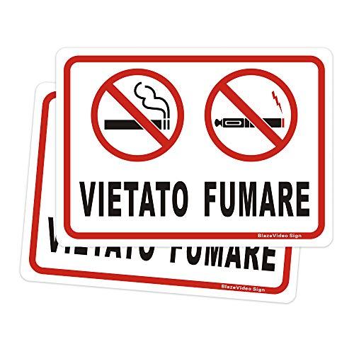 Cartello Vietato Fumare Sengletica Vietato Fumare sigarette Segni, Alluminio Segnale di Pericolo, 180 X 250 mm