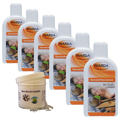 Saunaaufguss-Set 6 x 200 ml Warda Saunaduftkonzentrat (freie Duftwahl) plus 50 g REKO Mentholkristalle pharmazeutisch geprüft nach (PH.EUR.7)