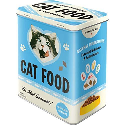 Nostalgic-Art Retro Vorratsdose L Cat Food – Love Mix – Geschenk-Idee für Katzen-Besitzer, Große Blech-Dose für Trockenfutter, 3 l