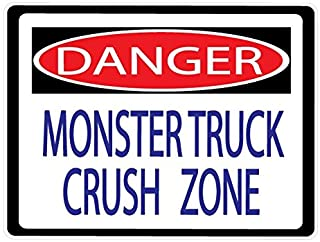Danger Monster Truck Crush Zone Street Sign Wall Decals/Monster Truck Wall Decals/Stickers
