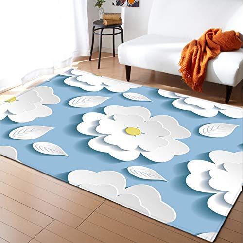 Alfombra gruesa de terciopelo suave alfombra inferior antideslizante para el dormitorio de la sala de estar dibujos animados flor blanca piso pad kid's room Play Mat Nursery Runner Alfombra,50 * 80cm