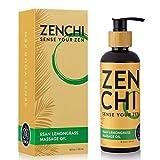 ZenChi Esan Lemongrass Massage Oil w/Aromatherapy Essential Oils Eucalyptus, Spearmint, Black Pepper, Peppermint, Rosemary, Patchouli - Gift Box & Pump Included (8.5 oz)