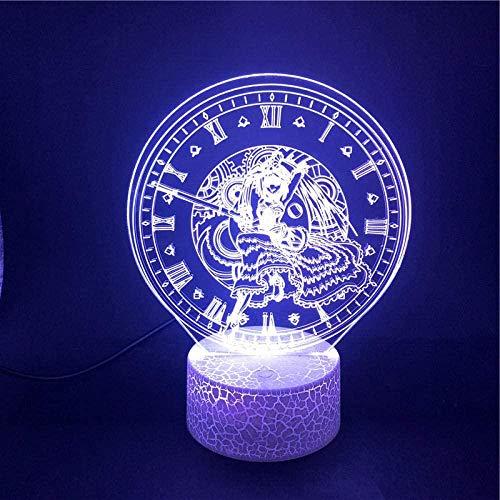 GEZHF Luz nocturna 3D juguete 3D ilusión remota lámpara de escritorio anime personaje Tokisaki Kurnmi 3D luz nocturna regalos para niños fans atmósfera 7 colores base LED lámpara de mesa -Touch