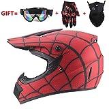 M-GLT Motocross Helmet/Motorrad Crosshelm, mit Handschuhe Sturmmaske und Brille Geeignet für Kinder und Erwachsene,WhiteRed,S(52~53)