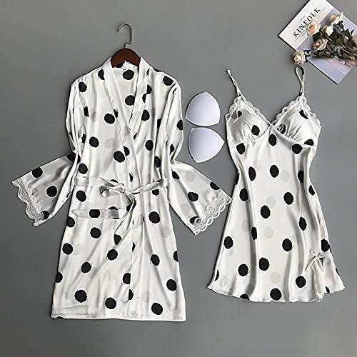 ACCP Pyjamas,Nachthemd,Schlafanzüge,Damen Morgenmantel,2 Stück Seidensatin Kurze Kimono Robe Pyjamakleid Dessous Set Bademantel Nachthemd Nachthemd mit abnehmbarem Brustpolster Nachtwäsche