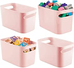 mDesign Plastic Toy Box Storage Organizer Tote Bin with Handles for Child/Kids Bedroom, Toy Room, Playroom - Holds Action ...