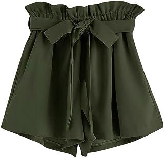 ZARU Damen Casual Shorts, Sommer Einfarbig Kurze Hose Elastische Taillen Taschen Kurzschluss-Hosen mit Tunnelzug, Retro-St...