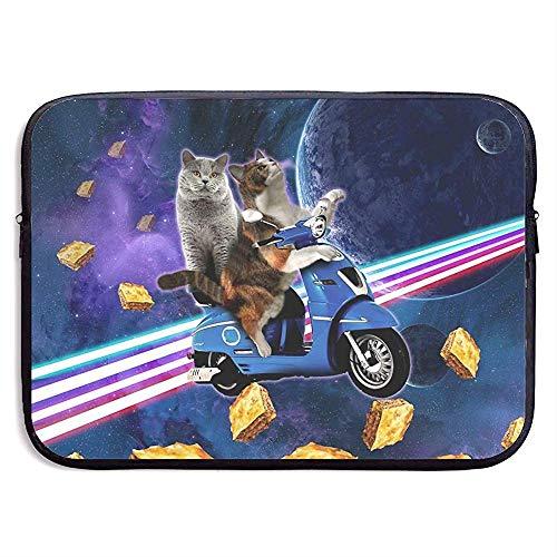 Zakelijke Aktetas Hoes, Laptop Sleeve Hoes, Waterdichte Computer Tas, Kat Riding Scooter Reizen Met Space Lazer Galaxy Laptop Sleeve Tas, Tablet Case Hoes, Compatibele Notebook Bag Case