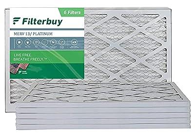 FilterBuy 16x25x1 Air Filter MERV 13, Pleated HVAC AC Furnace Filters (6-Pack, Platinum)