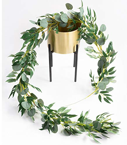 Amkun 6 Ft Artificial Silver Dollar Eucalyptus Leaves and Willow Vines Twigs Leaves Garland String for Home Party Wedding Decor Indoor Outdoor